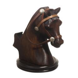 Wood cellphone holder, 'Indomitable Force'