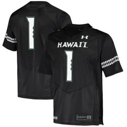 Men's Under Armour #1 Black Hawaii Warriors Logo Replica Football Jersey
