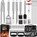 POLIGO 28PC Exclusive BBQ Grill Accessories in Carrying Bag for Birthday Christmas Grilling Gifts - Premium Grill Utensils Set with Barbecue Claws, Meat Injector, Thermometer for Smoker, Camping