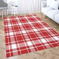 5x7 Area Rug,Shorping Play Area Rug Winter Rug Christmas Area Rugs Tartan Plaid Scottish Pattern in Red White Cage Modern Home Carpet,Fun Area Rug,Floor Mats for Home Bedroom,Large Area Rugs