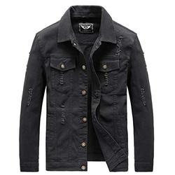 Heihuohua Men's Zip-Front Denim Jacket Classic Trucker Jean Jacket (Black, XX-Large)