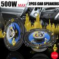 2pcs 6.5 inch 500W 4 Voies Coaxial Dual Voice Coil Subwoofers HiFi Coaxial Vehicle Door Audio Speaker Car Speaker,Black