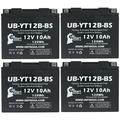 4-Pack UB-YT12B-BS Battery Replacement for 2005 Kawasaki ZX1000-C Ninja ZX-10R 1000 CC Motorcycle - Factory Activated, Maintenance Free, Motorcycle Battery - 12V, 10AH, UpStart Battery Brand