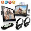 Pyle Dual Car Headrest Mount DVD Player System 10.5'' + Wireless Headphones
