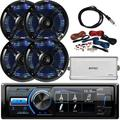 """""""MotorSports Digital Media USB AUX Bluetooth Stereo Receiver, 4 x Pyle 6.5"""""""" 250W Black Marine Speakers with Color Changing LED Lights, 4-Channel Amplifier w/ Wiring Kit, Antenna"""""""