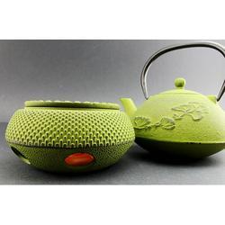 ERROR Iron Teapot with Warmer ~ Japanese Antique 24 fl oz Green Ginkgo Leaf Cast Iron Teapot Tetsubin with Infuser, Christmas gift, housewarming gift, Feng shui) -D