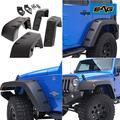 EAG Front and Rear Fender Flares Wheel Cover Pocket River Style - fits 07-18 Jeep Wrangler JK
