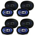Pyle 6 x 9 Inch 400 Watts 4-Way Car Coaxial Speakers Audio Stereo Blue (8 Pack)