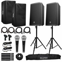 """""""Electro-Voice ZLX-15BT Active 15"""""""" Bluetooth Speaker Package with Microphones, Cables, Covers, & Stands"""""""