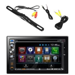 """""""Dual AV Double Din 6.2"""""""" Touch Screen DVD Bluetooth USB Receiver, PLCM18BC Pyle License Plate Mount Rear View Backup Color Camera With Distance Scale Line (Zinc Black Chrome)"""""""