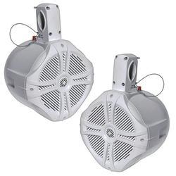 """Power Acoustik MWT 65W Marine-Grade 6.5"""" 500W Wake Tower Enclosure & Speaker System, White"""
