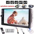 Free Wireless backup camera + 7 inch HD touch screen car audio stereo car mp5 player No DVD/cd player in dash car PC system headunit double din 2 din mp5 player radio stereo FM hands free BT