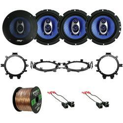 """""""4x Pyle PL63BL 6.5'' 360 Watt Three-Way Speakers Car Audio, 4x Metra Car Speaker Harness, 4x Enrock Speaker Mounting Brackets Adaptors Fits 5.25"""""""" or 6.5"""""""", Enrock Audio 16-Gauge 50 Foot Speaker Wire"""""""