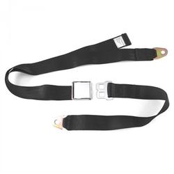SafeTBoy 608154 Universal Retro 2-Point Black Lap Seat Belt with Airplane Buckle