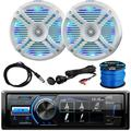 """""""MotorSports Waterproof Digital Media USB AUX Bluetooth Stereo Receiver, 2x Pyle 6.5"""""""" 250W White Marine Speakers with Color Changing LED Lights, Antenna, AUX Interface, Speaker Wire"""""""