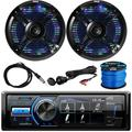 """""""MotorSports Waterproof Digital Media USB AUX Bluetooth Stereo Receiver, 2x Pyle 6.5"""""""" 250W Black Marine Speakers with Color Changing LED Lights, Antenna, AUX Interface, Speaker Wire"""""""