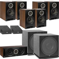ELAC Debut Reference DB62 9.2 Channel Bookshelf Dolby Atmos Surround Sound Home Theater System with DA4.2 Atmos Speakers and Subwoofer SUB3030 - Black/Walnut