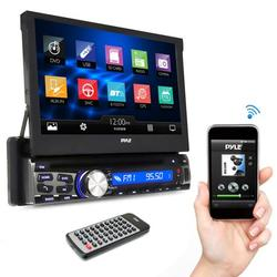 PYLE PLDT87BT - Single DIN In Dash Car Stereo Head Unit w/ 7inch Flip Out Touch Screen Monitor - Audio Video Receiver System with Microphone, Radio, Bluetooth