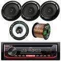 """JVC KD-R490 Single DIN CD/AM/FM/USB/AUX Car Receiver + 2 x Kenwood KFC-1665S 6 1/2"""" 2-Way Car Speakers (2 pairs) + Enrock Audio 16-Gauge 50Ft Speaker Wire"""