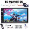 Backup camera+Double din 2 DIN Car Radio Stereo 7 Inch Capacitive Touch Screen support Bluetooth USB/TF(up to 32GB) MP5 Player in dash car pc system headunit no DVD player + Wireless Remote