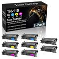 8-Pack (2BK+2C+2Y+2M) Compatible High Yield MFC-9440CN 9840CDW 9450CDN Laser Printer Cartridge Replacement for Brother TN-110 (TN-110BK TN-110C TN-110Y TN-110M) Toner Cartridge
