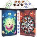 Magnetic Dart Board for Kids – Indoor and Outdoor Dart Board Set – Double-Sided Scoreboard, Colorful Designs – 4 Dart Games, 12 Strong Magnetic Throwing Darts, 6 Dart Balls – Fun for The Whole Family