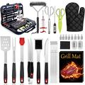Leonyo BBQ Grill Accessories Heavy Duty Grill Utensils 32 PCS Set Extra Thick Stainless Steel BBQ Grilling Tools with Nylon Carry Bag Great Gift Christmas for Men in Camping Backyard Barbecue Party