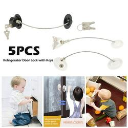 HOTBEST 2PCS Refrigerator Door Lock with Keys Window Lock Drawer Lock Freezer Door Lock Fridge Lock Baby Kid Safety Cabinet Lock