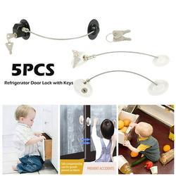5/2pcs Refrigerator Door Lock with Keys Window Lock Drawer Lock Freezer Door Lock Fridge Lock Baby Kid Safety Cabinet Lock