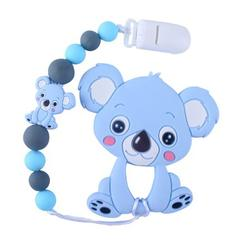 AkoaDa Animal Koala Teething Necklace Silicone Bead Toy Silicone Teether Pacifier Chain Clip For Children(Blue)
