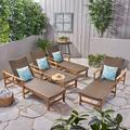 Camdyn Outdoor Rustic Acacia Wood Chaise Lounge with Wicker Seating (Set of 4), Natural and Mixed Mocha