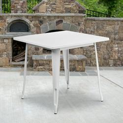 """Flash Furniture Commercial Grade 31.5"""" Square White Metal Indoor-Outdoor Table [ET-CT002-1-WH-GG]"""