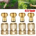 EEEKit Garden Hose Quick Connect Set, Solid Brass Quick Connector Male & Female, Garden Hose Fitting Water Hose Connectors 3/4 inch(4/3/2/1 Sets)