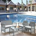 Outdoor Patio Furniture Sets, 4 Piece Gray Wicker Outdoor Porch Conversation Sets, 2pcs Arm Chairs, 1pc Loveseat&Coffee Table, Patio Bar Set, Dining Set for Backyard Lawn Porch Poolside Garden, W7766
