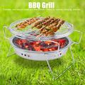 OTVIAP Folding BBQ Grill,Stainless Steel Mini BBQ Grill Folding Portable Round Barbecue Stove for Outdoor Camping Patio