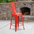 """Flash Furniture 4-Pack 24"""" High Metal Indoor-Outdoor Counter Height Stool with Back, Multiple Colors"""