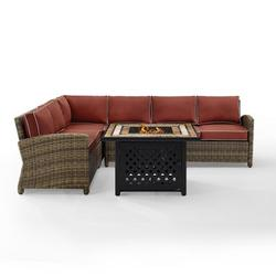 Crosley Furniture Bradenton 5-Piece Outdoor Wicker Seating Set With Sangria Cushions - Right Corner Loveseat, Left Corner Loveseat, Corner Chair, Center Chair, Fire Table