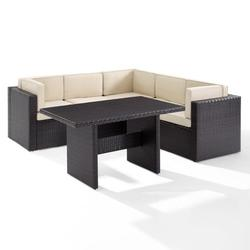 Crosley Palm Harbor 6Pc Outdoor Wicker Sectional Set- 3 Corner Chairs, 2 Center Chairs, Cocktail Table