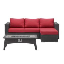 Contemporary Modern Urban Designer Outdoor Patio Balcony Garden Furniture Lounge Sofa, Chair and Coffee Table Fire Pit Set, Fabric Rattan Wicker, Red