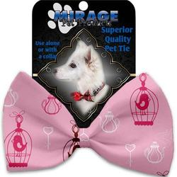 Mirage Pet 1117-VBT Pink Whimsy Bird Cages Pet Bow Tie Collar Accessory with Cloth Hook & Eye