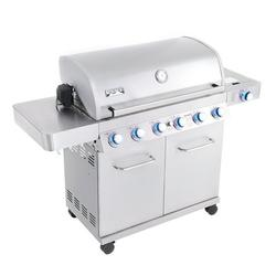 Monument Grills 6-Burner Propane Gas Stainless Grill with LED Controls, Side Burner and Rotisserie Kit