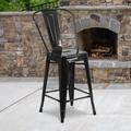 """Flash Furniture Commercial Grade 4 Pack 24"""" High Black Metal Indoor-Outdoor Counter Height Stool with Removable Back [4-CH-31320-24GB-BK-GG]"""