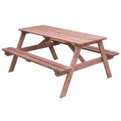A-Frame Outdoor Wooden Patio Deck Garden Picnic Table, Stained Color