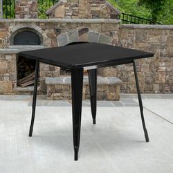 "Flash Furniture Commercial Grade 31.5"" Square Black Metal Indoor-Outdoor Table [ET-CT002-1-BK-GG]"