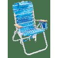 RIO Beach 4-Position Hi-Boy Backpack Beach Chair - Blue Stripe