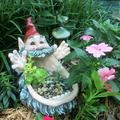 Homestyles 11 in. Gnome Big Mouth Multi Function Planter, Bird Feeder, Bird Bath and Stone Garden Statue
