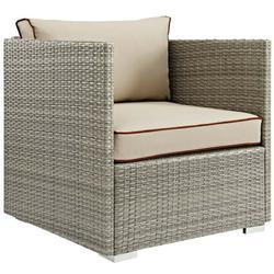 Modern Contemporary Urban Design Outdoor Patio Balcony Garden Furniture Lounge Chair Armchair, Sunbrella Rattan Wicker, Light Gray Beige