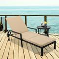 Chaise Lounges Chairs Outdoor, Brown Rattan Patio Chaise Lounge Chairs with Adjustable Back, Wheeles, Beige Cushion, All-Weather Sun Chaise Lounge for Backyard, Pool, Balcony, Patio Furniture, W11638