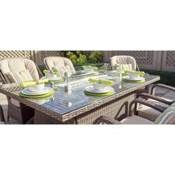 Rectangular Brown 7 Piece Outdoor Patio Furniture Set Dining Set Gas Fire Pit Table Garden Rattan Wicker Sofa Conversation Set with Table Chair and Luxury Cushions Lounge Set