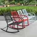 Mainstays Marna Outdoor Metal Rocking Chair, Light Blue